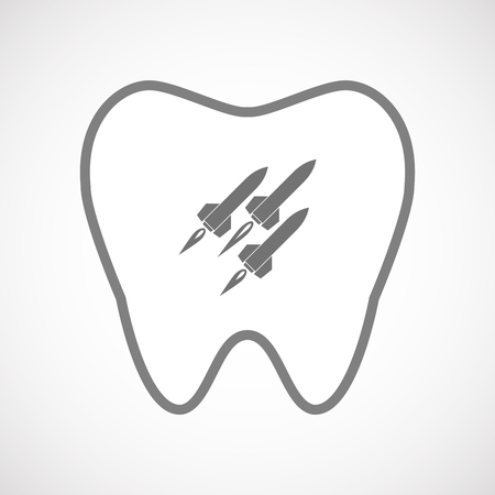 ballistic missile: Illustration of an isolated line art tooth icon with missiles