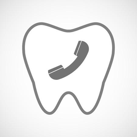 comunicacion oral: Ilustración de un icono de diente aislado arte de línea con un teléfono