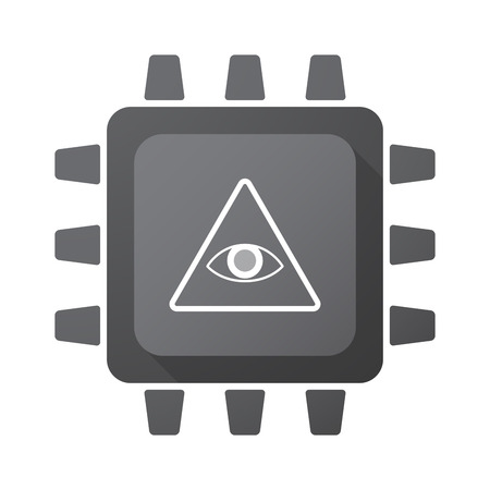 all seeing eye: Illustration of an isolated CPU chip icon with an all seeing eye Illustration
