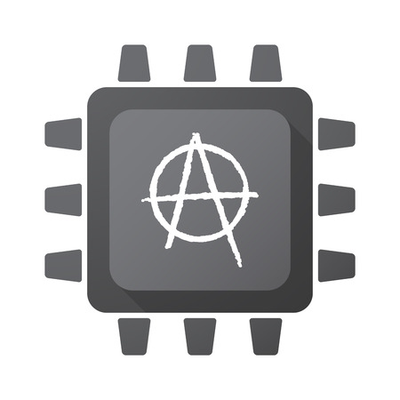 anarchist: Illustration of an isolated CPU chip icon with an anarchy sign