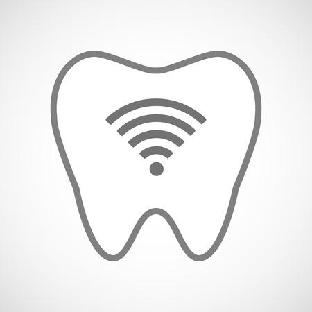 comunicacion oral: Ilustraci�n de un icono de diente aislado arte de l�nea con un signo de la se�al de radio Vectores
