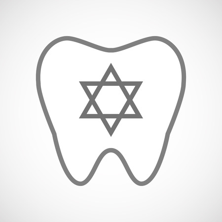 jews: Illustration of an isolated line art tooth icon with a David star