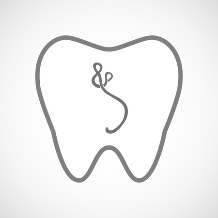 hemorrhagic: Illustration of an isolated line art tooth icon with  an ebola sign