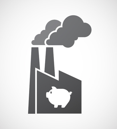 meat food: Illustration of an isolated factory icon with a pig