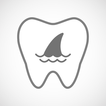 fin: Illustration of an isolated line art tooth icon with a shark fin