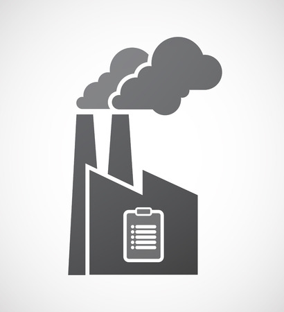 engineering icon: Illustration of an isolated factory icon with a report