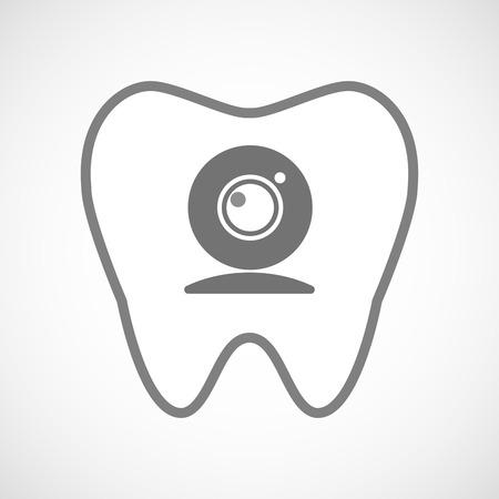 comunicacion oral: Ilustración de un icono de diente aislado arte de línea con una cámara web
