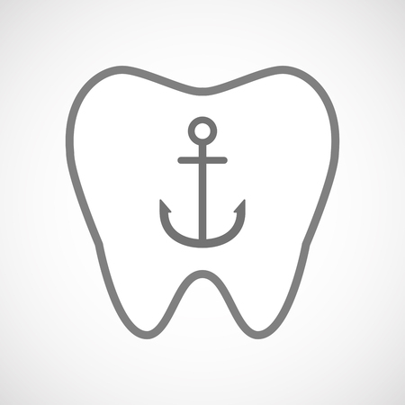 nautic: Illustration of an isolated line art tooth icon with an anchor