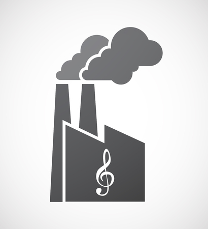 g clef: Illustration of an isolated factory icon with a g clef Illustration