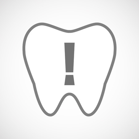 admiration: Illustration of an isolated line art tooth icon with an admiration sign Illustration