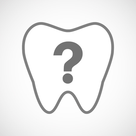 interrogation mark: Illustration of an isolated line art tooth icon with a question sign