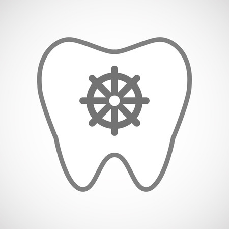 dharma: Illustration of an isolated line art tooth icon with a dharma chakra sign