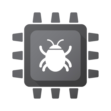 computer worm: Illustration of an isolated CPU chip icon with a bug