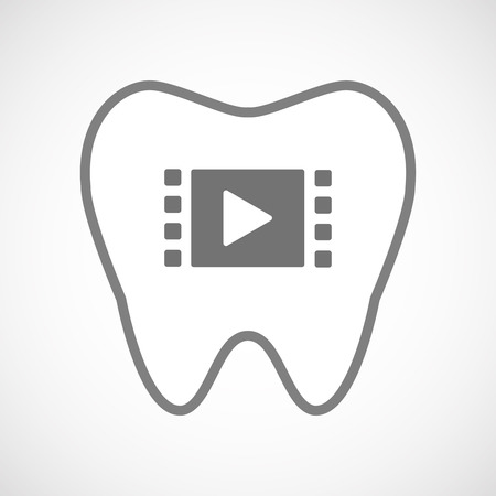 oral communication: Illustration of an isolated line art tooth icon with a multimedia sign