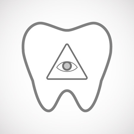 all seeing eye: Illustration of an isolated line art tooth icon with an all seeing eye