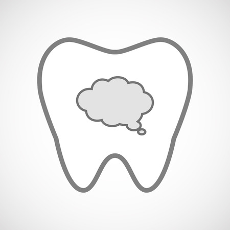 comunicacion oral: Ilustración de un icono de diente aislado arte de línea con un globo nube cómica