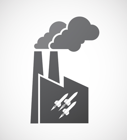 missiles: Illustration of an isolated factory icon with missiles