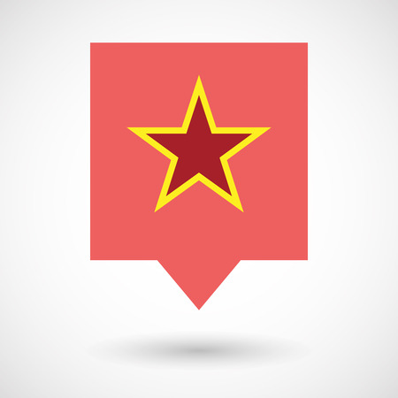 communism: Illustration of an isolated line art tooltip icon with  the red star of communism icon Illustration