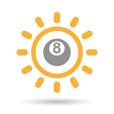 bola de billar: Ilustraci�n de un icono aislado sol l�nea de arte con una bola de billar