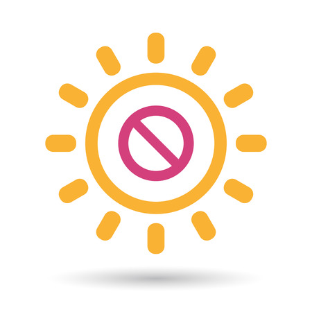 Illustration of an isolated line art sun icon with  a forbidden sign Illustration