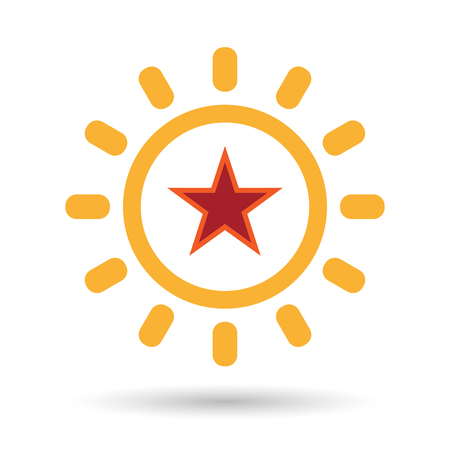 Illustration of an isolated line art sun icon with  the red star of communism icon