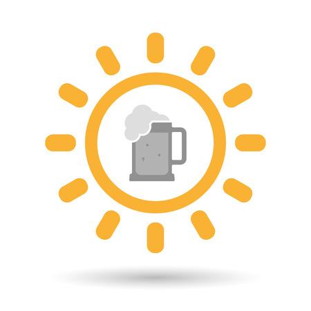 tarro cerveza: Ilustración de un icono aislado sol línea de arte con un icono de jarra de cerveza Vectores
