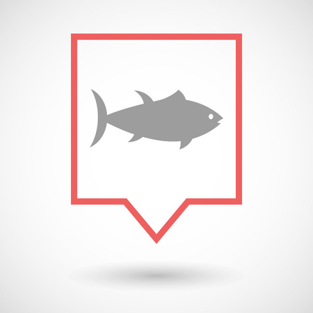 tuna fish: Illustration of an isolated line art tooltip icon with  a tuna fish