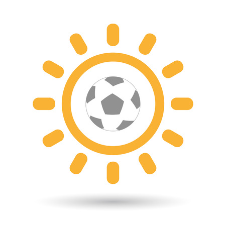 Illustration of an isolated line art sun icon with  a soccer ball