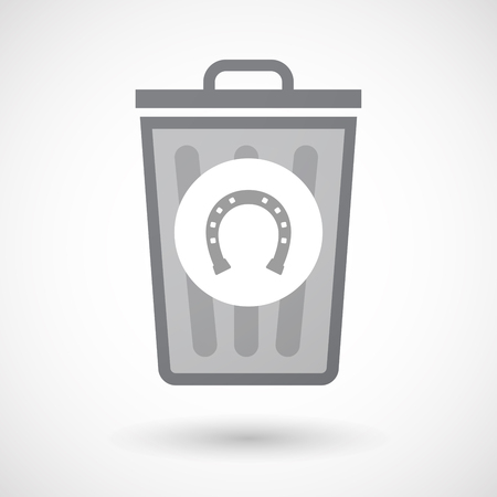 rein: Illustration of an isolated trash can icon with  a horseshoe sign