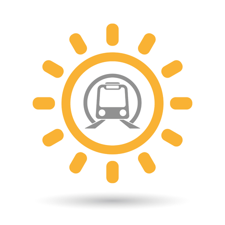 Illustration of an isolated line art sun icon with  a subway train icon Illustration