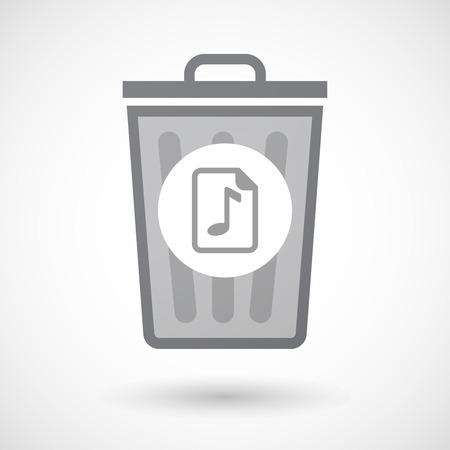 partition musique: Illustration d'une poubelle isol�e peut ic�ne avec une ic�ne de partition Illustration