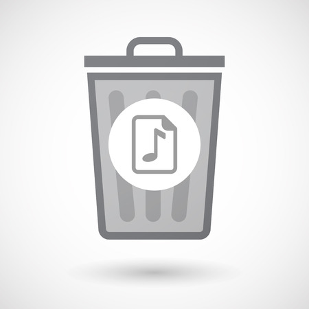 music score: Illustration of an isolated trash can icon with  a music score icon Illustration