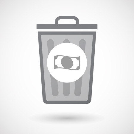 bucket of money: Illustration of an isolated trash can icon with  a  bank note icon