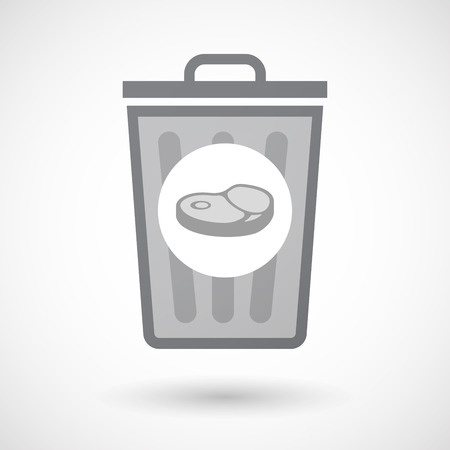 Illustration of an isolated trash can icon with  a steak icon Ilustrace