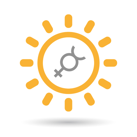 Hermaphrodite: Illustration of an isolated line art sun icon with  the mercury planet symbol Illustration