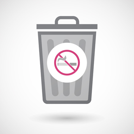 abstain: Illustration of an isolated trash can icon with  a no smoking sign