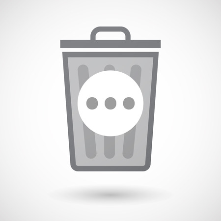 orthographic: Illustration of an isolated trash can icon with  an ellipsis orthographic sign
