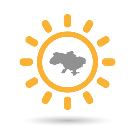 Illustration of an isolated line art sun icon with  the map of Ukraine Illustration