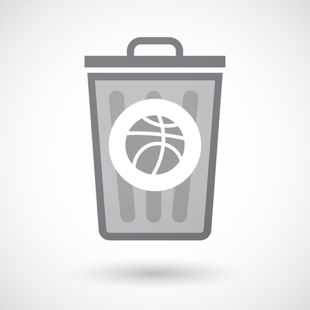 Illustration of an isolated trash can icon with a basketball ball