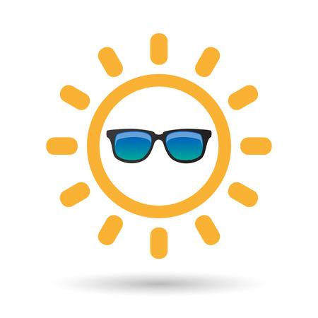 Illustrazione di un'icona di sole isolato linea arte con un icona di occhiali da sole