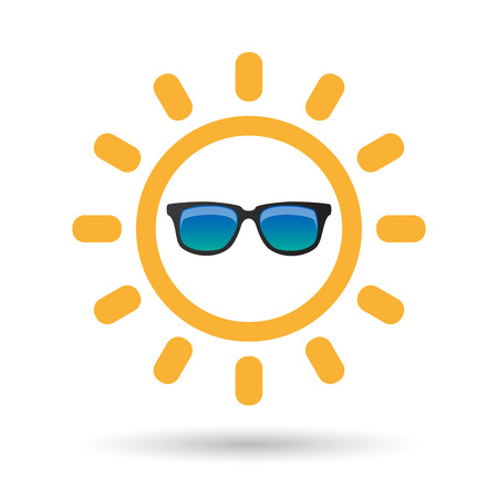 Illustration of an isolated line art sun icon with  a sunglasses icon