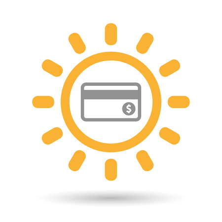 Illustration of an isolated line art sun icon with  a credit card