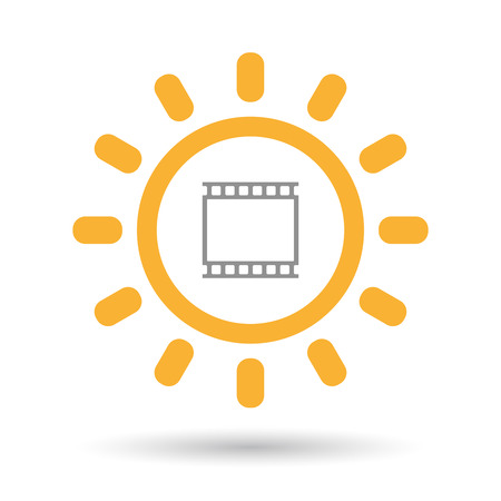 35mm: Illustration of an isolated line art sun icon with   a photographic 35mm film strip Illustration