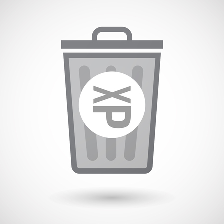 sticking: Illustration of an isolated trash can icon with  a Tongue sticking text face emoticon