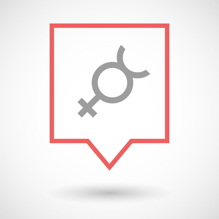 Hermaphrodite: Illustration of an isolated line art tooltip icon with  the mercury planet symbol