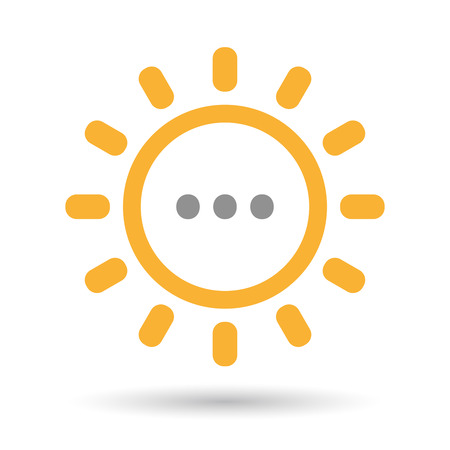 ellipsis: Illustration of an isolated line art sun icon with  an ellipsis orthographic sign