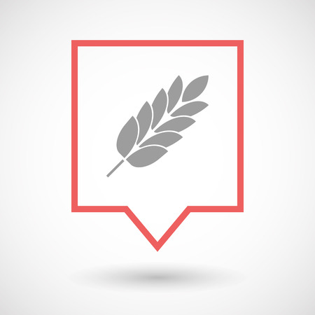 celiac: Illustration of an isolated line art tooltip icon with  a wheat plant icon