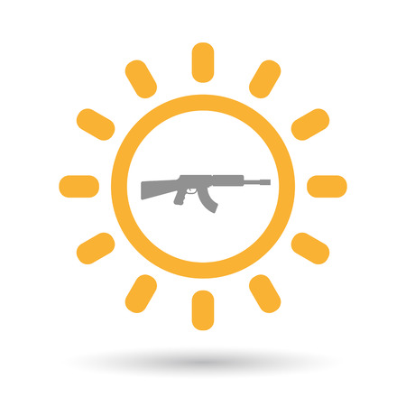 Illustration of an isolated line art sun icon with  a machine gun sign