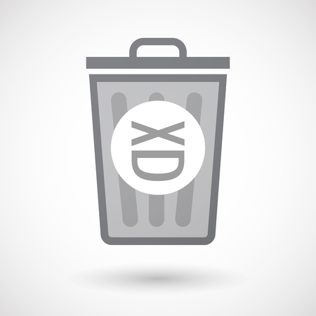 Illustration of an isolated trash can icon with a laughing text face