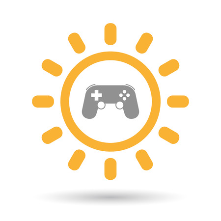 game pad: Illustration of an isolated line art sun icon with  a game pad